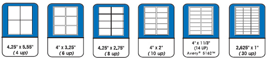 Stock Label Sizes